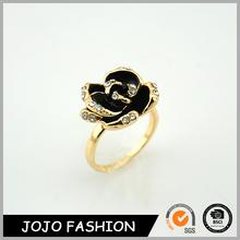 Black Petal Diamond New Design Ladies Finger Gold Plated Flower Ring