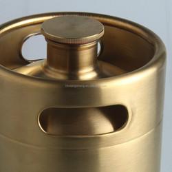 Golden finish beer bottle with screwing cap