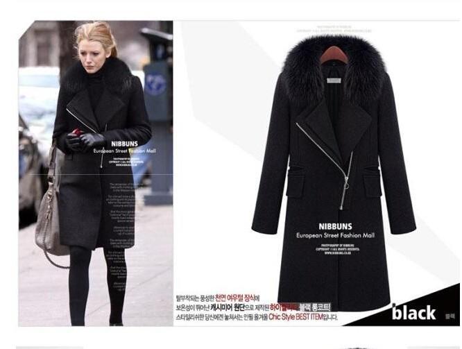 2016 Winter Hot Sale Gossip Girl Women's Elegent Slim Fashion Fur Collar Long Zipper Solid Thick Trench Woollen Coat