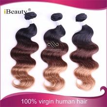 High quality real good feedback brazilian virgin permanent 3 tone hair extensions