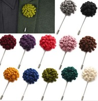 Lapel make fabric flower brooch Daisy Handmade Boutonniere Stick Brooch Pin Men's Accessories Tuxedo Corsage Prom