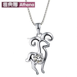 S925 sterling silver pendant zodiac Sheep lovely fashion exquisite diamond pendant silver jewelry factory wholesale animal year