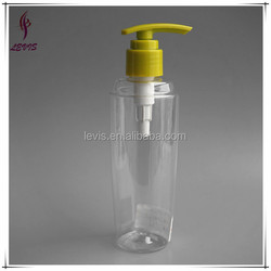 Empty transparent 200 ml plastic bottle with lotion pump for cosmetic
