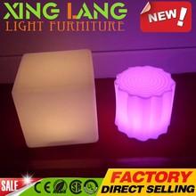 turntable elegant PE plastic RGB color change waterproof LED outdoor brown disposable bar ware creative stool