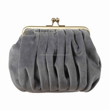 2014 updated style durable grey faux suede clutch coin purse