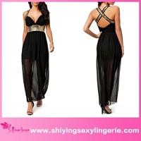 2015 Black Chiffon Sequin www com sex photo Evening Dress