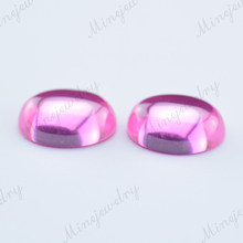 oval cabochon pink cubic zirconia gemstone