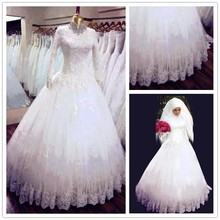 Real Samples Ball Gown Long Sleeves Wedding Dresses with Hijab Lace Appliqued White Muslim Wedding Gown Pictures (CC3453)
