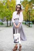 Ladies Summer Beach Handbags Strip/Tote Canvas Shoulder Zipper Bag with Leather Handles