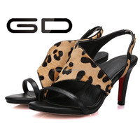 Sexy Leopard Pointed Toe Ankle Suede High Heels Sandals Women for Brand 2015 Ladies Pumps Fashion Valentine Shoes
