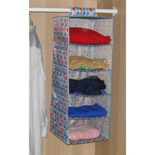 5 layer polyestic fabric hanging clothes storage bin