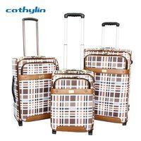 Trolley PU leather luggage case hotel wooden luggage rack