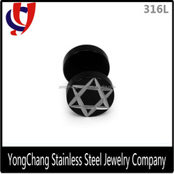Charming black stainless steel barbell stud earring for ear piercing jewellery