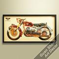 Pintura de la moto antigua, decoración de casa artística