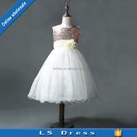fashion children white color frock fancy girls puffy dresses