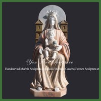 Hand Carved Natural Stone Marble Virgin Mary Sculpture