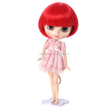 fashionable short red bob style blythe doll wig with heat resistant fiber