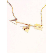 Valentines Day Initials Arrow Necklace