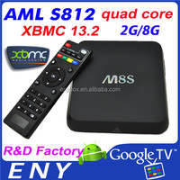 android 4.4 smart tv box quad core amlogic S812 android tv box support KODI skype