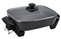 8L Large Square Electric Frying Pan With SS 301 Oil Push Rod