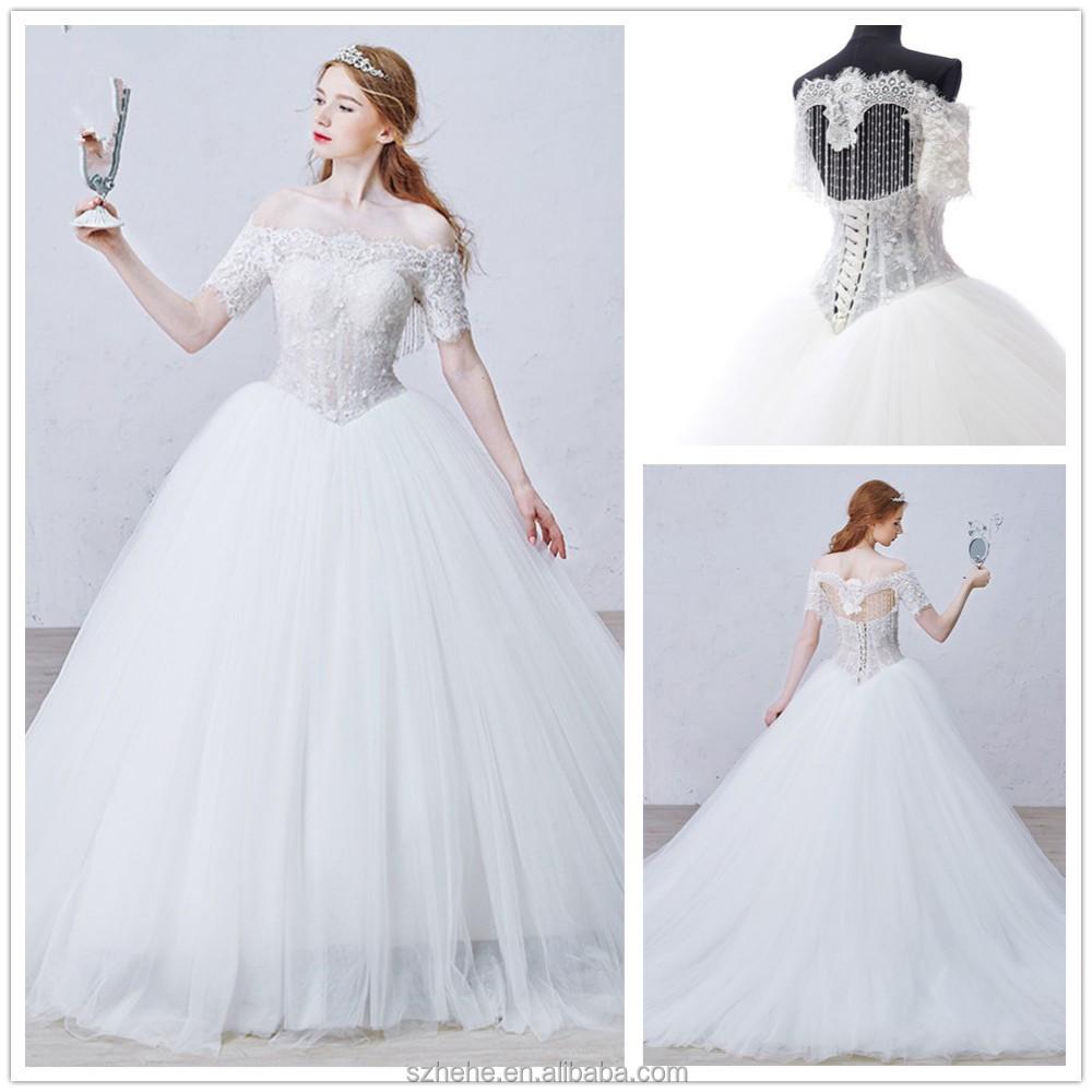 Wholesale jmw0061 short sleeve top lace heavy beaded for Heavy beaded wedding dresses