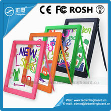 3528 white color ABS frame rewritable magic led glow pad erasable neon led message writing board with 1pcs free pens