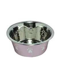 Dog foot Printed Stainless Steel Pet Bowl/ new Color