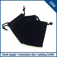 Wholesale 7x9cm Customized Logo Drawstring Black Velvet Pouch