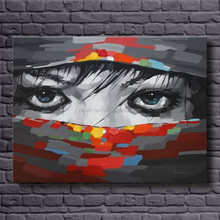 Canvas abstract home decoration face oil painting for sale
