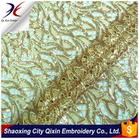 3MM MATTE SEQUIN MOTIF DESIGN CHEMICAL LACE EMBROIDERY FABRIC FOR PARTY EVENING DRESS,WATER-SOLUBLE EMBROIDERY FABRIC