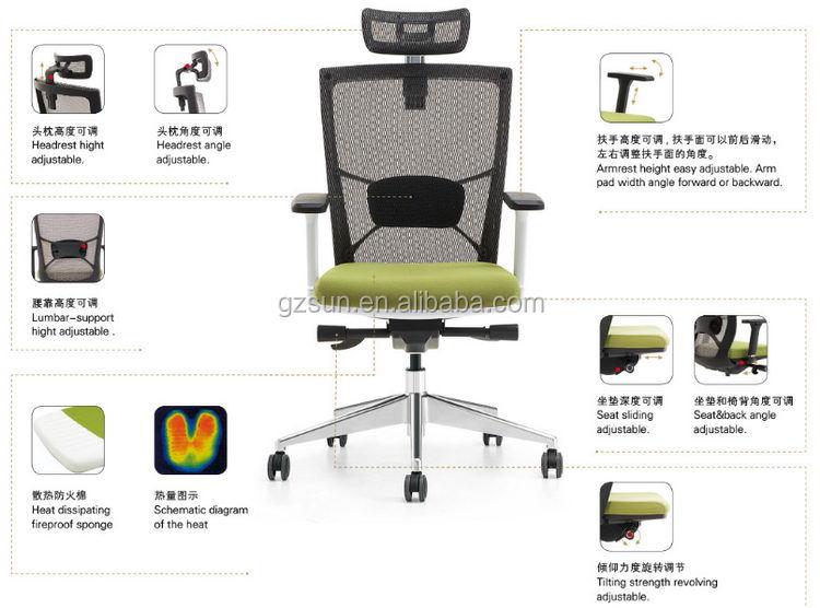 Sunshine Furniture Modern High Back Best Ergonomic Executive Mesh
