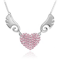 Ten Colors Best Selling Fashion Jewelry Rhinestone Heart Angel Wing Necklace, Buy Stock From China