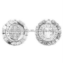 Vintage cross crystal round big jewelry religious pendants