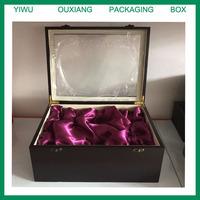 Luxury hot sale dark red finish wooden tea cups tea pot packing box