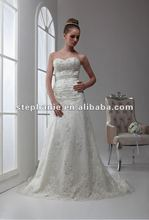 (A6326)New Designed Classic Sweetheart Appliqued Beaded A-line Lace Discount Wedding Dress 2012