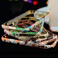 2014 New Style! Cloisonne Luxury National Wind Design Diamond Bezel Rhinestone Bumper Case For iPhone 5 5C 5S