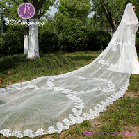 whole-sale graceful four layer embroidered scattered flower bridal veil arabic veils