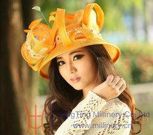 New fashion women young yellow sinamay church hat