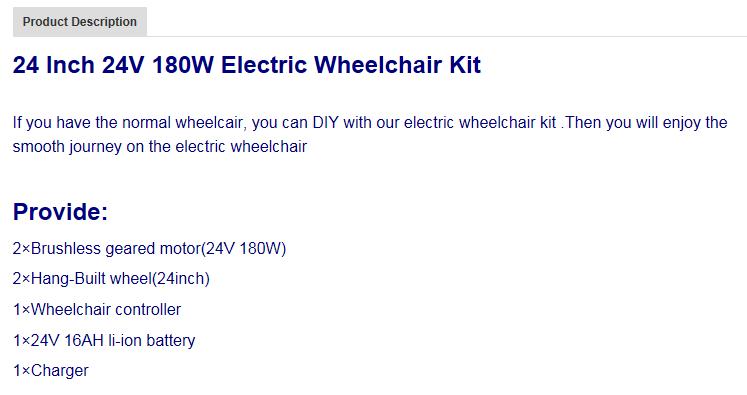 DKY180W Hub Motor Rear Drive Conversion Kits