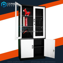 White color glass door appliances used office metal cupboard design with adjustable shelves