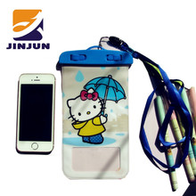 China supplier unisex PVC plastic cell phone waterproof bag with sling under 5.5 inch screen
