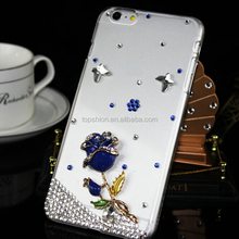 Hot Selling For iPHONE 6 Hard Case Clear Cover Diamond Bling Bling Rose Case
