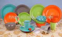 16pcs eco-friendly party or wedding hand painted brush ceramic bright colorful dinnerware sets