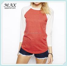 Colour block baseball top in marl crew neckline raglan sleeves women top curved hem top