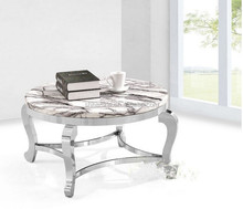 Double Layer stainless steel marble coffee end table