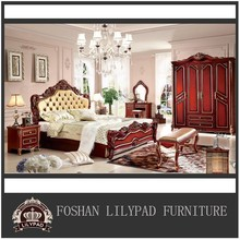 French European Style Hand Carved Luxury funiture Delicate Bedroom Set