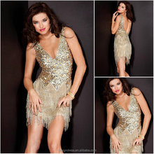 Sexy Deep V-neck Backless Bling Bling Gold Cocktail Dress Short Party Dress