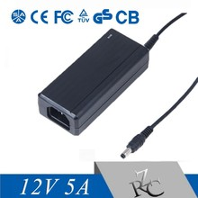 60W 12V 5A LCD/LED Display AC Adapter High Efficiency