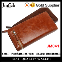 wholesale large capacity cell phone PU leather men's zipper clutch wallet for business men
