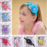 Blue rose flower with pearl fabric baby Headbands headwear toddler baby hair headband for lovely little girls